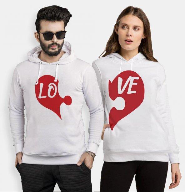 Tshirthane Puzzle Kalp Lo Ve Sevgili Kombinleri kombini Sevgili Kapşonlu Sweatshirt