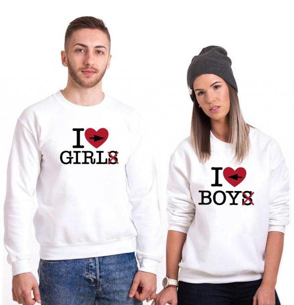 Tshirthane I love Boy Girl  Sevgili Kombinleri tshirt kombini Sevgili Sweatshirt Uzunkollu