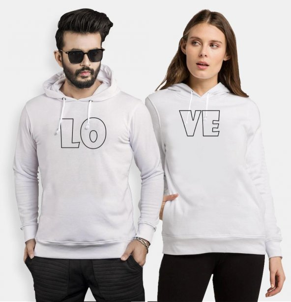 Tshirthane Lo Ve Bold Sevgili Kombinleri kombini Sevgili Kapşonlu Sweatshirt