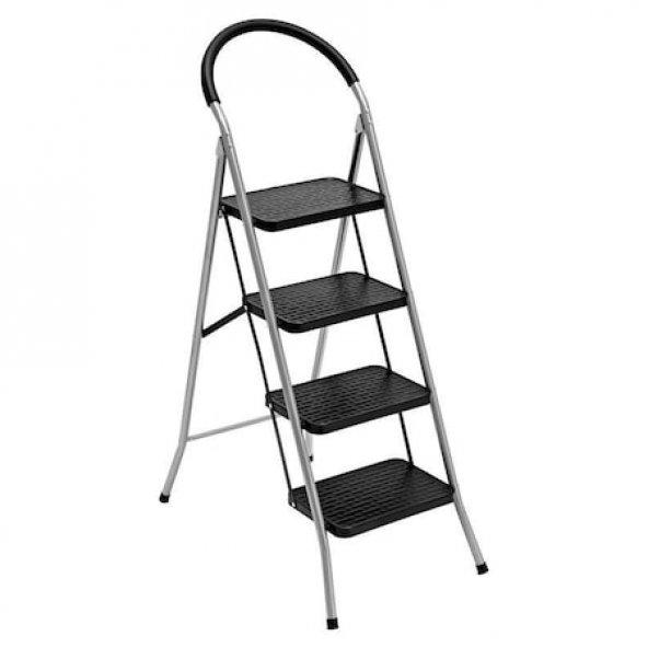 Saraylı 4 Basamaklı Siyah Pratik Lüks Mega Metal Merdiven