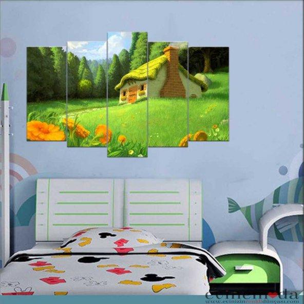 100X60  - Çocuk Odası 5 Parçalı Mdf Tablo - Çocuk-13