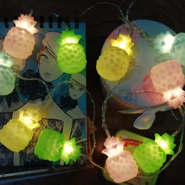 Karışık Renk Ananaslı Dolama 10 lu Led Işık Zinciri
