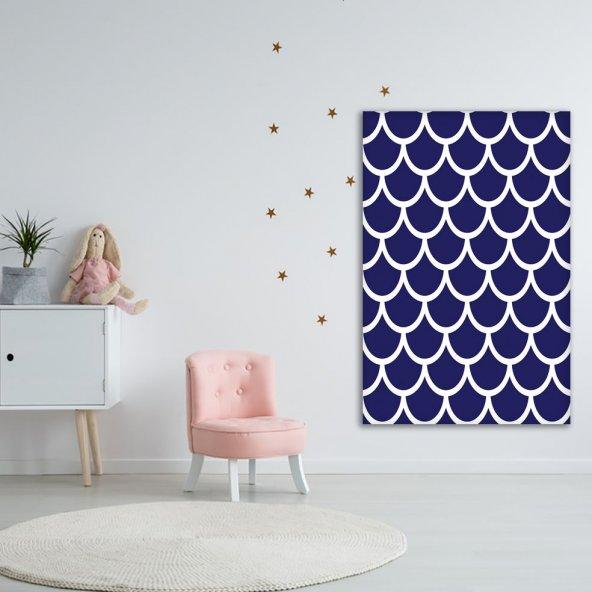 Mavi Beyaz Geometrik Desenli Duvar Örtüsü