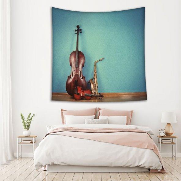 Müzik Keman Saksafon Deseni Duvar Örtüsü