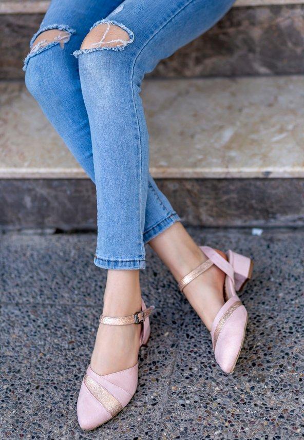 Placida Pudra Süet Topuklu Bayan Ayakkabı