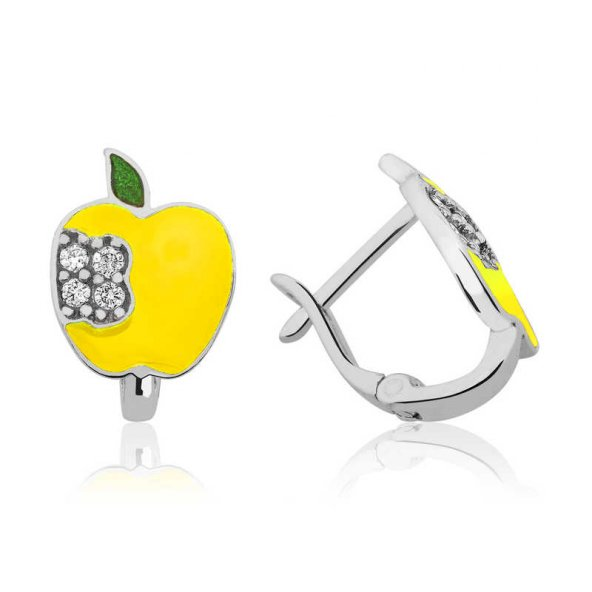 Gümüş Sarı Elma Çoçuk Küpesi