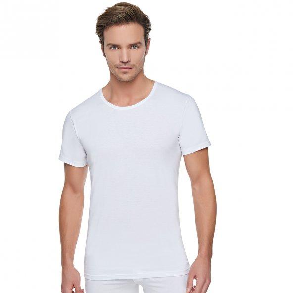 TutkuPenye Bisiklet YakaT-ShirtErkek Atlet Beyaz%100Pamuk Cotton