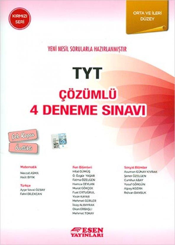 Esen Tyt Çözümlü 4 Deneme Sınavı Kırmızı Seri  - Esen Yayınları
