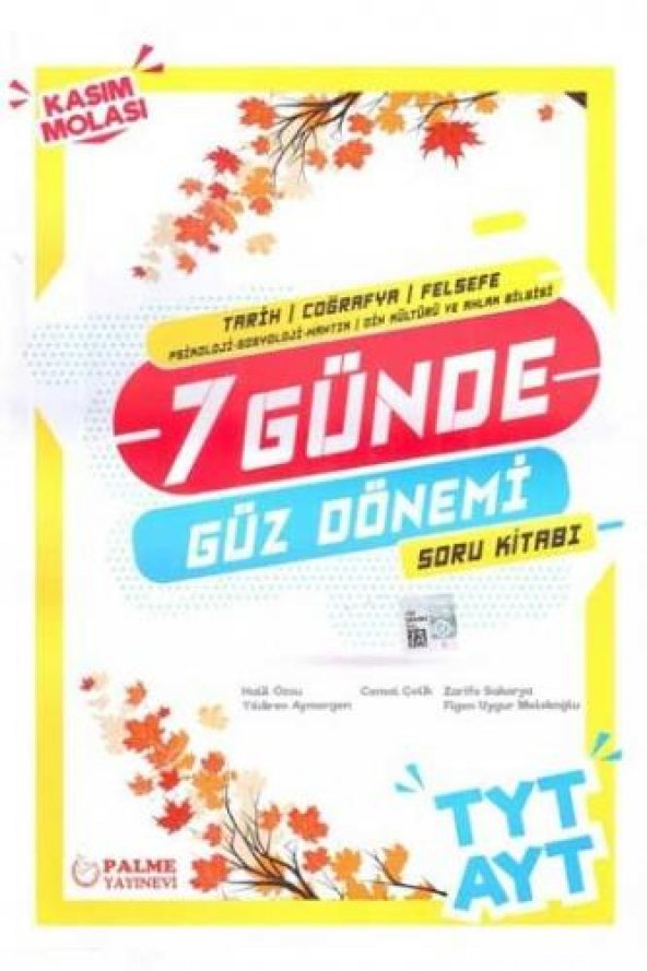 TYT AYT (TCF)7 Günde Güz Dönemi Soru Kitabı - Palme Yayınları