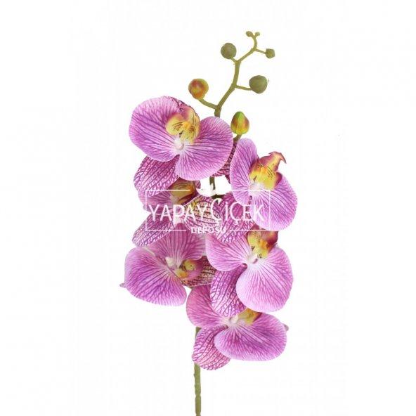 Yapay Pastel Islak Orkide Çiçeği 95 cm Mor-Benekli