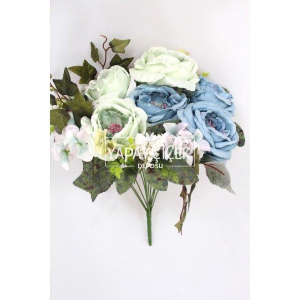 Yapay Çiçek 12 Dal Lüx Soft Katmer Gül-Ortanca Aranjmanı Su Yeşili-Mavi