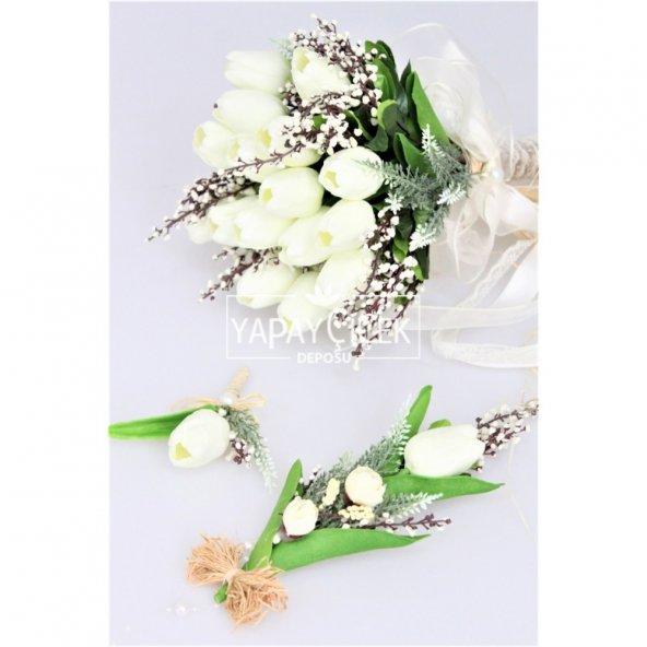 Islak Lale Gelin Çiçeği 3lü Set Beyaz