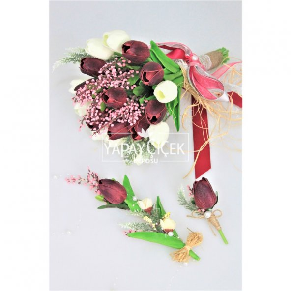 Islak Lale Gelin Çiçeği 3lü Set Beyaz-Mürdüm