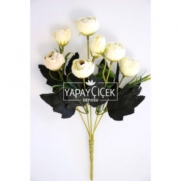 Yapay Çiçek Ucuz Pastel Şakayık Gül Demeti Kırık Beyaz
