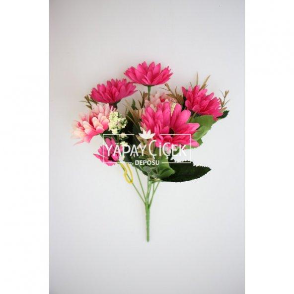 Ucuz yapay çiçek iri kafa papatya demeti (koyu pembe)