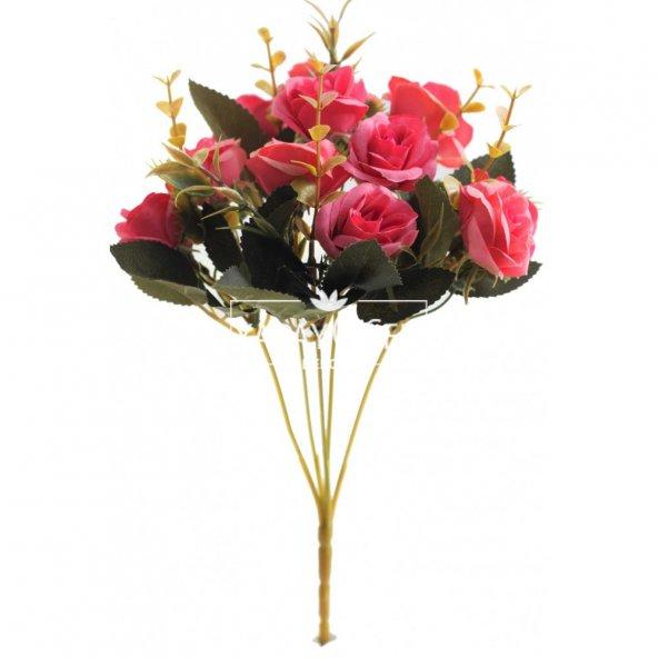 Yapay Çiçek Pastel Renk Gül Demeti Fuşya