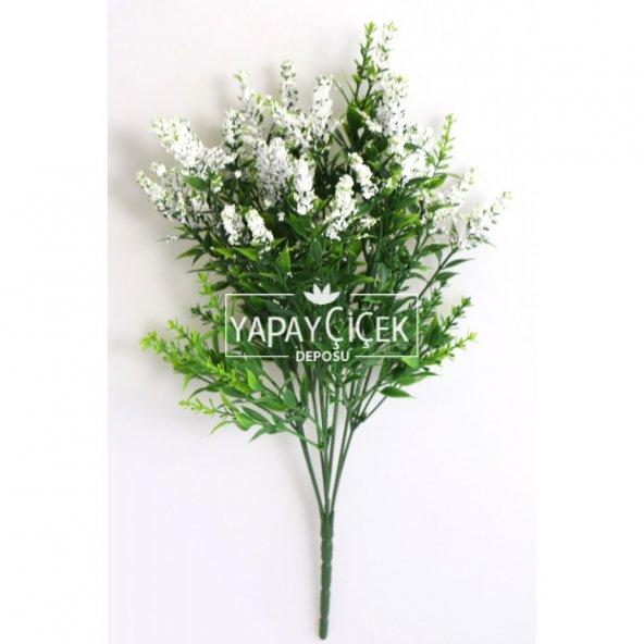 Minik Cipsolu Yapay Bahar Yeşillik 7 Dallı 35cm Beyaz