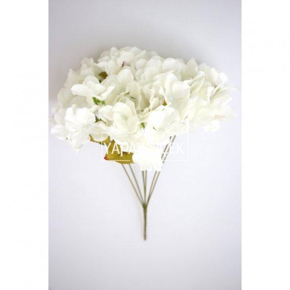 Yapay Çiçek Ortanca Demeti 40 cm Beyaz