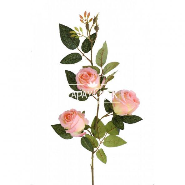 Yapay Çiçek Uzun Dal 3lü Gül 95 cm Açık Pembe