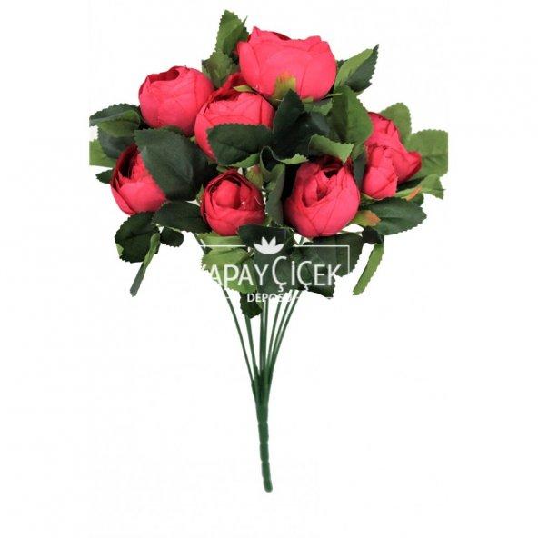 Ucuz yapay çiçek şakayık çiçeği gül demeti (fuşya)