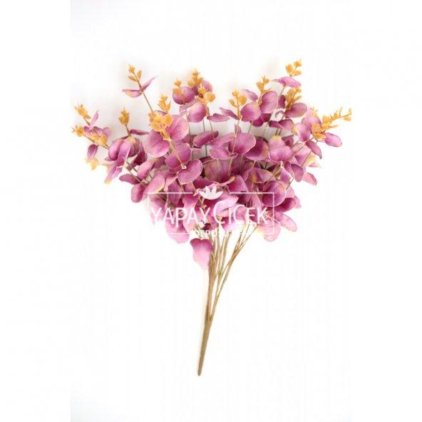 Yapay 16 Dallı Okaliptus Bitkisi 45 cm Pastel Mor