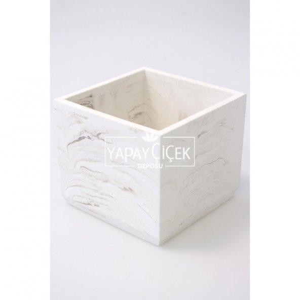 Handmade Beton Saksı 13 cm Model-7 Taş Rengi