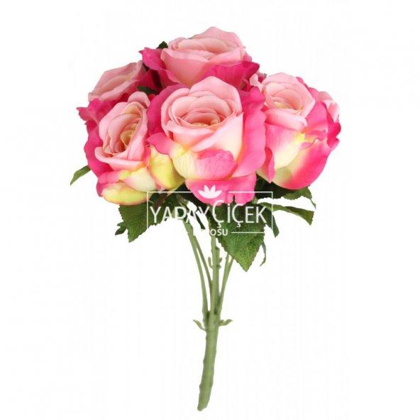 Yapay Çiçek 6 Dal Lüx İri Gül Demeti 45 cm Fusya-Pembe