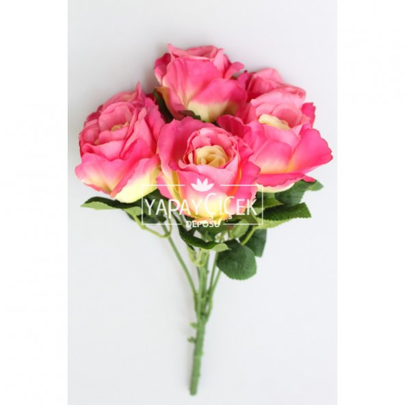 Yapay Çiçek 6 Dal Lüx İri Gül Demeti 45 cm Fusya-KREM