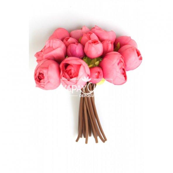 Yapay Çiçek İnce İpek 16lı Gül Demeti Pembe