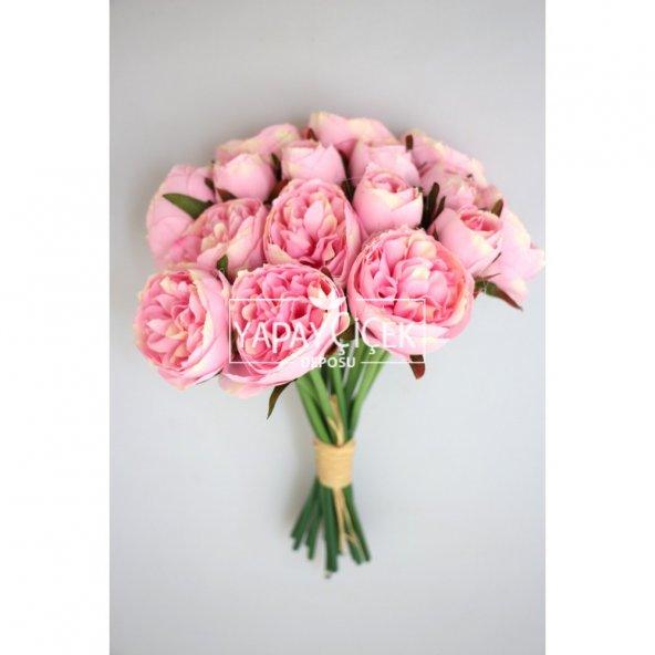 Yapay Çiçek 15li Küçük Tomur Şakayık Gül Buketi Açık Pembe