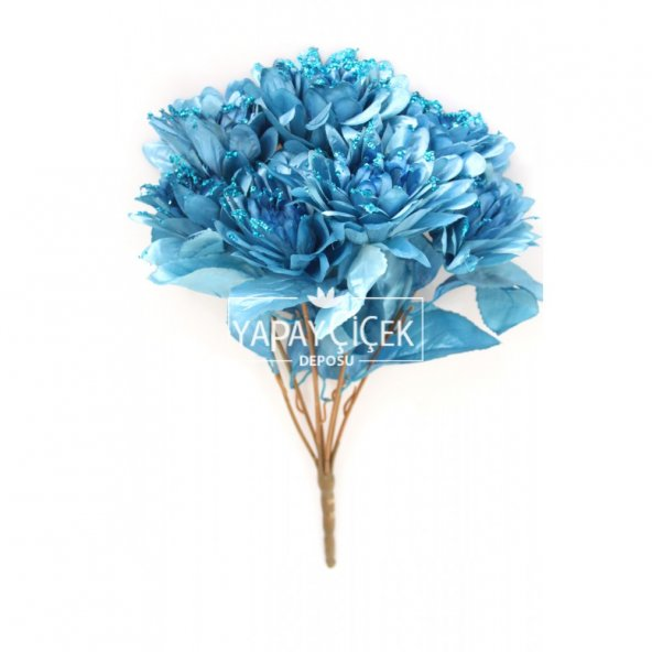 Yapay Çiçek Payetli Büyük Yıldız Gülü Demeti Mavi