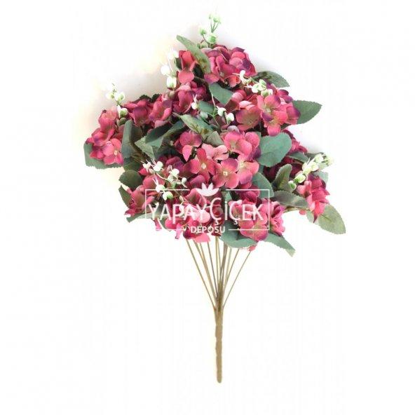 Yapay Çiçek 13 Dal Lux Pastel Ortanca Demeti Fuşya