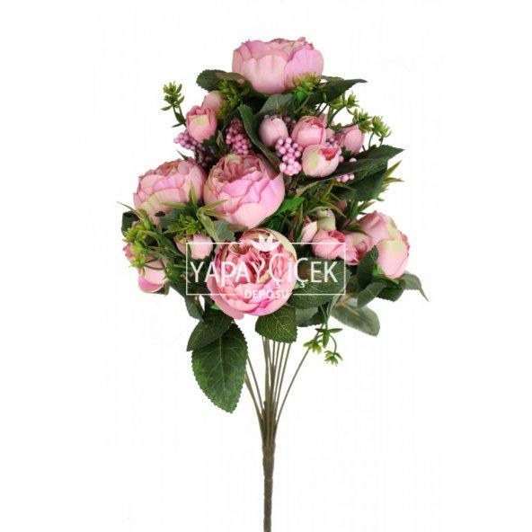 Yapay Çiçek 18 Goncalı Büyük Gül Aranjmanı Açık Pembe