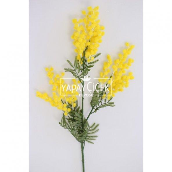 Yapay Lüx 3lü Mimoza Dalı 85 cm Sarı