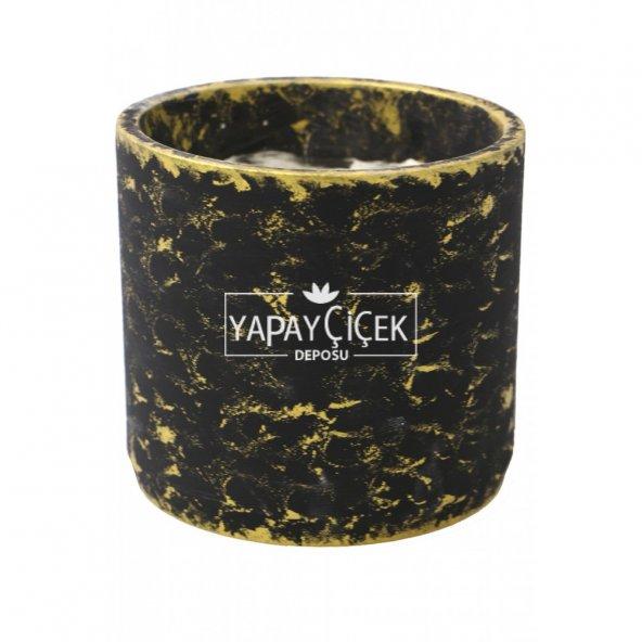Handmade Beton Saksı 13 cm Model-4 Siyah-Altinyaldızlı Eskitme