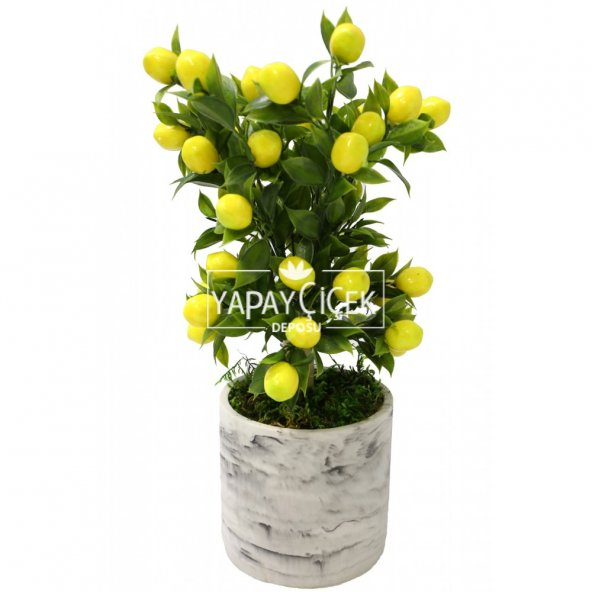 Handmade Beton Saksıda Yapay Limon Ağacı Uzun Model 40cm