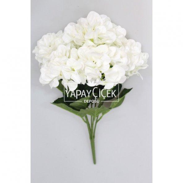 Yapay Çiçek Büyük 5 Dal Delüx Damarlı Ortanca Demeti Beyaz
