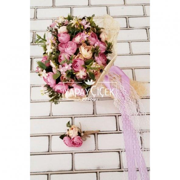 Gelin Çiçeği Ayperi Somon Mor 2li Set