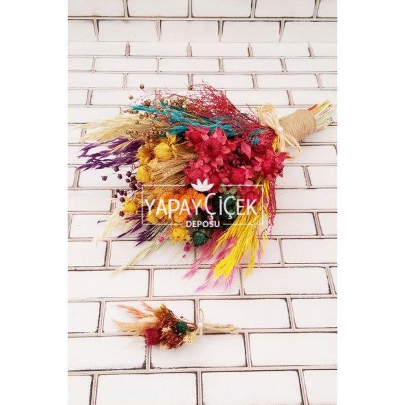Kuru Çiçek Gelin Buketi Yoko Naturel Kırmızı Turuncu Sarı 2li Set