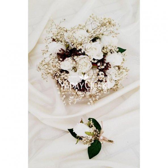 Beyaz Güller Cipso Kuru Çiçek Şöleni Gelin Çiçeği 2li Set