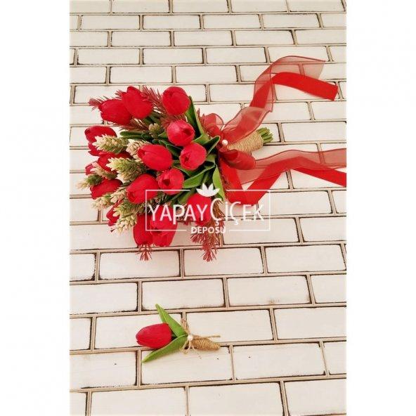 Kırmızı Islak Lale Gelin Çiçeği 2li Set
