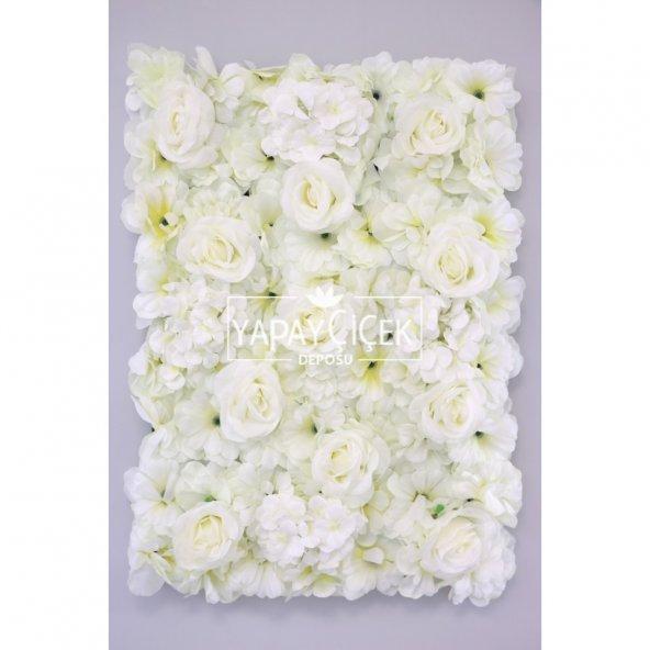 Yapay Lüx Duvar Çiçeği Ortanca ve Gül Zemin Kaplama Duvarı 40x60 cm Krem