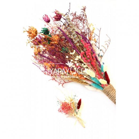 Aspendos Büyük Kuru Çiçek Gelin Buketi 2li Set