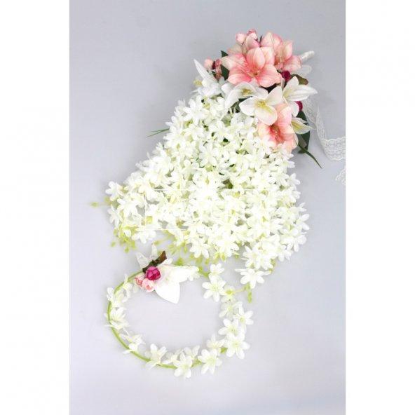 Sarkan Gelin Çiçeği Beyaz 3lü set