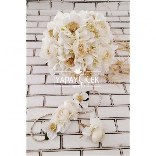 Belen Beyaz Ortanca İpek Güller Çilek Şöleni Gelin Buketi 3lü Set