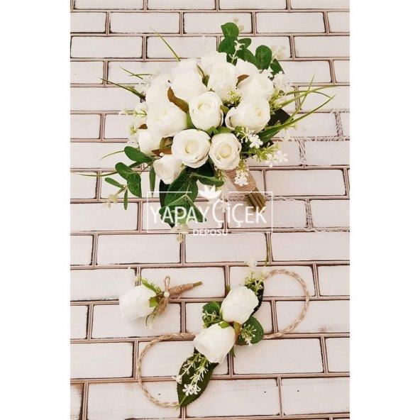 Beyaz Güller Esen Gelin Çiçeği 3lü Set