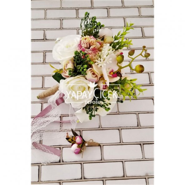 Hermia Beyaz Güller Orkide Şöleni Gelin Buketi 2li Set