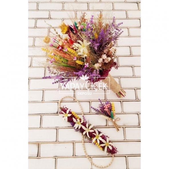 Sefila Büyük Kuru Çiçek Gelin Buketi 3lü Set
