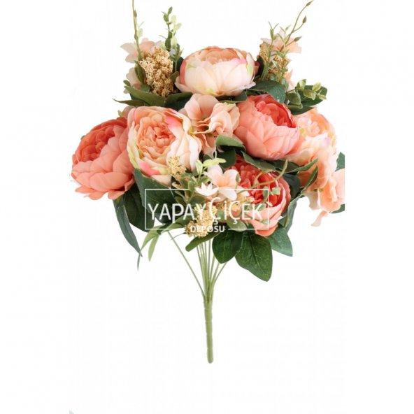 Yapay Çiçek Premium Büyük Şakayık Gül Demeti Somon