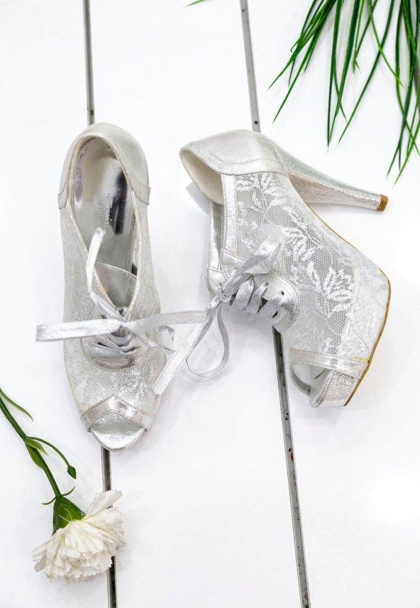 Edna14 Gümüş Tül Topuklu Ayakkabı